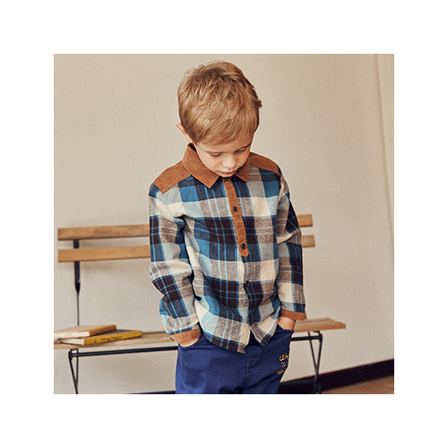[MY LITTLE STAR] Corduroy point shirts _ blue