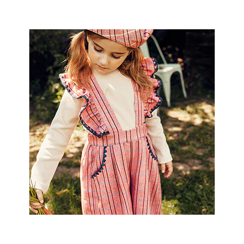 [MY LITTLE STAR] Checked suspender pants _ red