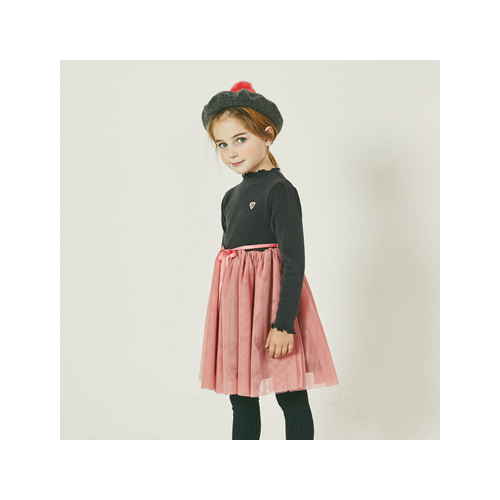 [MY LITTLE STAR] Ribbon Tulle dress _ charcoal